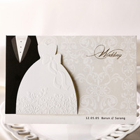 White wedding invitation groom and bride design wedding invitation cards Engagement card  Wedding Favor Free Shipping