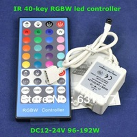 Free shipping 2Set/Lot IR 40-key RGBW led controller for led strip light bulb,brightness and speed adjustable 4Channel x 2A
