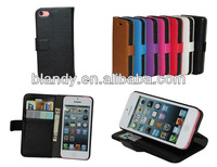 10pcs/lot free shipping wholesale litchi leather pouch wallet stand case with money holder for iphone 5c