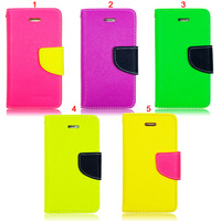New Arrival Bright Contrast Color Stand Leather Flip Cover With Card Slot Retail Package for Samsung Galaxy S3 I9300 S4 I9500