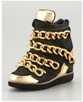Gold Metal Chain Decoration Women Black Gold Wedge Casual Shoes Genuine Leather Height Increasing  Sneakers
