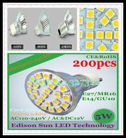 FedEX Free Shipping 200 pcs SMD 5050 24 LED 5W GU10 E27 E14 MR16 AC110-240V/AC&DC12V LED Spotlight Bulb LED light Downlight lamp