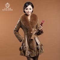 EMS free shipping  2013 fox fur collar sheepskin genuine leather clothing women's medium-long leather coat (M---XXXL)