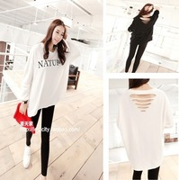 2013 behind the hole personality loose batwing sleeve long-sleeve letter sweatshirt t j10 free shipping