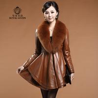 EMS free shipping royal 2014 medium-long genuine leather women's ultralarge sheepskin fox fur collar outerwear coat (M---XXXL)