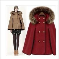 2014 Winter Classic Fur Collar Cloak Woolen Outerwear Cape Type Wool Coat, Fur Hooded Woolen Women Jacket