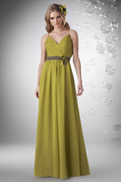 A-Line Criss-Cross Straps Floor-Length Chiffon Prom Dress With Ruching HWGJPD53