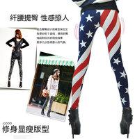 Free Shipping Women Stars And Stripes USA Full Length Ladies American Flag Leggings Slim New Pants