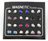 Magnet Without Pierced Men's Charms Cool Earrings Ear Stud 2013 New Fashion Jewelry Free Shipping Wholesale 12pcs/lot Mix Color