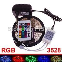 5M rgb SMD 3528 60 led /m non waterproof Changing strip 300LEDs RGB LED Strip +12V 2A power supply+24 keys IR Remote Controller