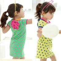 Children clothing wholesale 2014 summer new girls cute dot one peice dress short-sleeve dress Free shipping 5 pcs/lot