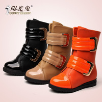 New autumn shoes Winter 2013 japanned leather magic button thermal snow boots female boots child boots martin boots
