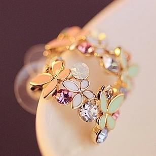 South Korea Jewelry Circle Butterfly Flowers Fresh Daisy Earrings!#2234(China (Mainland))