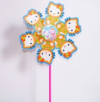 free shipping (20 pieces/lot) kids toys online childrens outdoor toys Hello Kitty pattern windmill toys