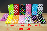 13PCS For iphone 5c Dot case Polka Dot Wave Point Style Design Soft Gel TPU Case 13 color Colorful with Free Screen Protector