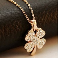 2014 Fashion Hot New High Quality Clear Crystal Necklace Pendant Necklace For Women Four Leaf Clover Rhinestone Necklace Jewelry