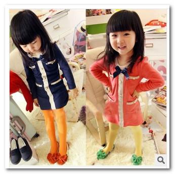 New autumn korean girls ladies Temperament Bow Pocket princess dress kids cotton round collar Straight party dress red blue 1677