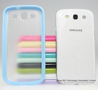 PC+TPU Back Phone Case Transparent Back Cover for Samsung Galaxy S3 i9300 Wholesale 1pc/lot+Free Gift