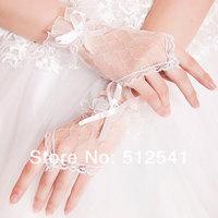 Elegant Fingerless Bow Lace Girls Bridal Gloves Mittens Women Wedding Bridal Accessories Wholesale KH507