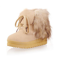 2014 autumn and winter boots platform flat heel boots fox fur boots wool thermal cotton-padded shoes