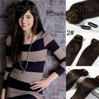 "Human Hair Extension   26"" 65cm 120g 7Pcs/Set  #2 Dark Brown High Quality  Clips in  Real Human Hair Extension For Ladies"
