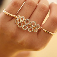 Women Exquisite Letter Eight Rings Fashion Full Drilling Double Finger Opening Ring Jewelry Free Shipping 18pcs/lot