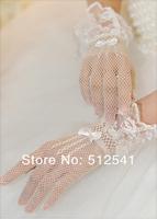 Mix White Ivory Black Full Finger Short Lace Bow Girls Bridal Women Gloves Mittens Wedding Bridal Accessories KH508