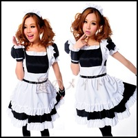 Free Shipping Cheap Black and white Lolita  maid anime cosplay  clothes princess dress costume halloween clothing