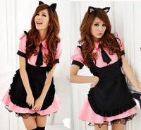Free Shipping Cheap Lolita Maid animes clothing with aprons cosplay  costume halloween dress