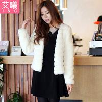 2013 Autumn and winter women rex rabbit hair fur coat short design overcoat