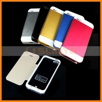 3500mAh Battery Leather Case With Metal Back Cover For iPhone 5