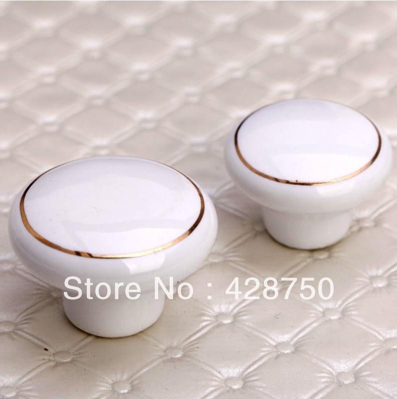 32mm White Ceramic Knobs Bedroom Kitchen Door Cabinet Cupboard Knob