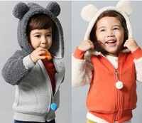 2013 free shipping hot new autumn and winter coral velvet sleeve hooded zipper jacket wholesale children