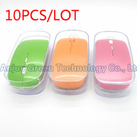 10PCS/LOT With Retial Box Micro -Receiver Super Slim Wireless mouse 2.4Ghz Wireless Mouse  for loptop desktop