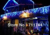 Free shipping/9 Color 3.5M Wave shape LED waterproof icicle Lights with 8 Lighting Mode for Wedding Christmas Decoration EU Plug