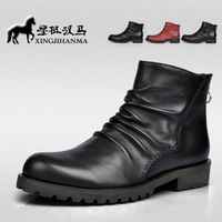NEW 2013 Winter Male Boots Genuine Leather Martin Boots Fashion Ankle Boots Big Size 38-44 Free Shipping