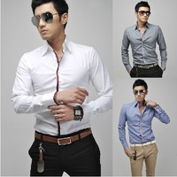 Free Shipping 2013 spring and summer Slim solid color metal buckle men's short-sleeved shirt US Size:XS,S,M,L 5910