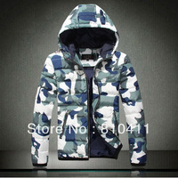 Free shipping, 2013 new men's new upmarket down jacket hooded Camo down jacket