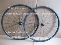 700C full carbon 24mm tubular wheels with Poweway Alloy super light hub,only 1050g.