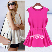 Free Shipping New Fashion 2013 Summer Ladies OL pleated shirts women blouse and tops with belt 4 colors Size:S-XL