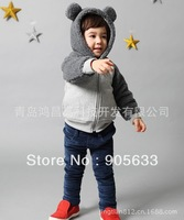 Winter Children stitching plush ear stereo cute long-sleeved two-color stitching zipper coral velvet hooded cardigan jacket
