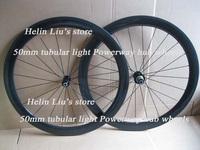 700C full carbon 50mm tubular wheels with Poweway Alloy super light hub,only 1260g.
