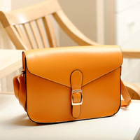 2013 New Fashion Korean Style Lady Bag Women Candy Color British Belt Buckle School Style Vintage Shoulder Bag Messenger Bag