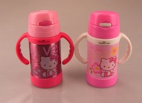 1pcs Double handle children Warmers / Hello Kitty mug / 260ml double thermos straw