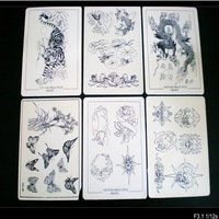 6 pcs Tattoo Practice Skin Supply 8x6 Inch with Design