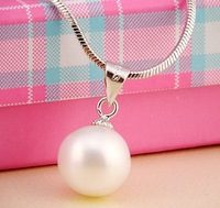 Perfect Round Pearl Pendant with 925 Stering silver Jewelry OL Free  Shipping