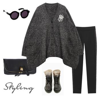 Autumn and winter women loose batwing sleeve diamond skull sweater outerwear plus size cardigan
