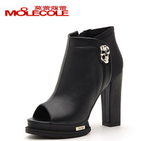 High-heeled shoes autumn thick heel open toe single shoes punk skull side zipper casual shoes female