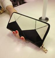 Fashion colorant match long design genuine leather zipper wallet women's wallet card holder