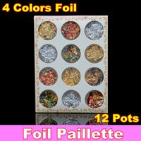 12 pots Gold Silver Copper Foil Paillette Chip Colors Nail Art Glitter Foil Decoration Set + Free Shipping